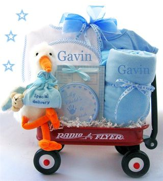 Gifts Baby  on Baby Gift Baskets    Blog Archive Here Comes The Stork Wagon Baby Gift