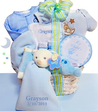 Personalized Snuggle Baby Gift Basket - Boy