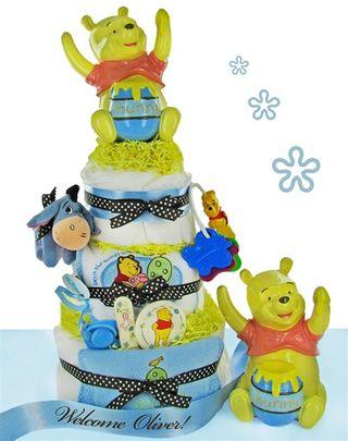 Baby Boy Pooh Bear Diaper Cake