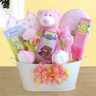 Pink Bear Hugs Baby Basket