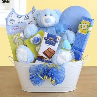 Blue Bear Hugs Baby Basket
