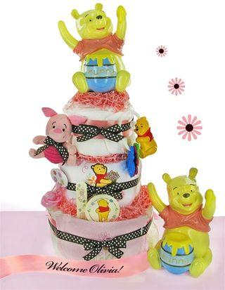 Baby Girl Pooh Bear Diaper Cake